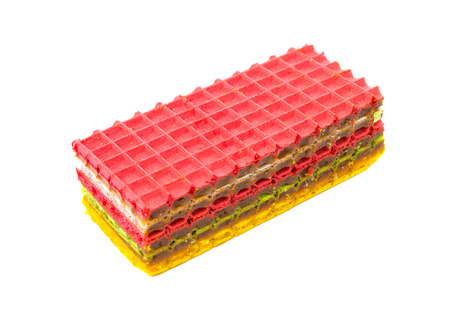Waffle cake isolated on white background photo