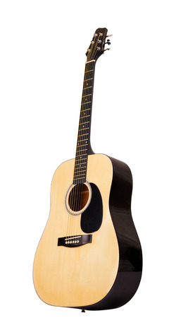 guitarra acustica: guitarra acústica clásica aislada en un fondo blanco