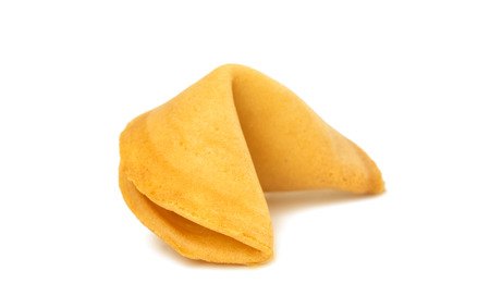 isolated fortune cookie on a white background