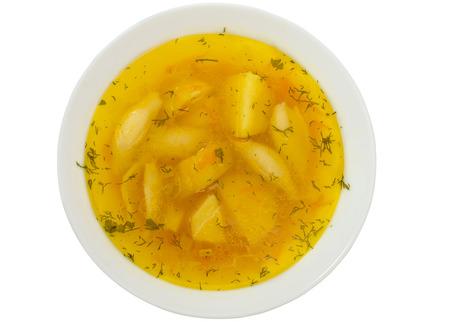 sopa de pollo: sopa aislado en blanco