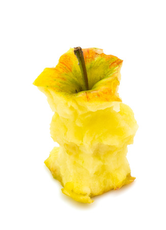 unfit: apple core isolated on white
