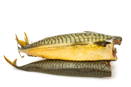 smoked fish isolated on white background photo