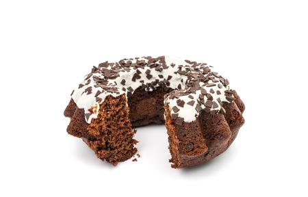 truncated: chocolate cake on white background