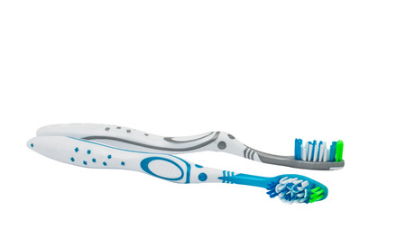 toothbrushes on white background Stock Photo