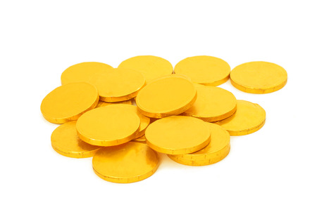 gold coins on a white background photo