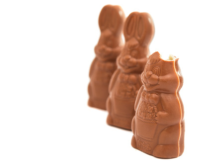 Easter chocolate bunny isolated on white background photo