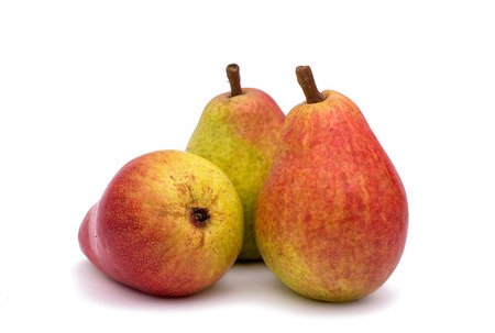 Ripe pears on a white background photo