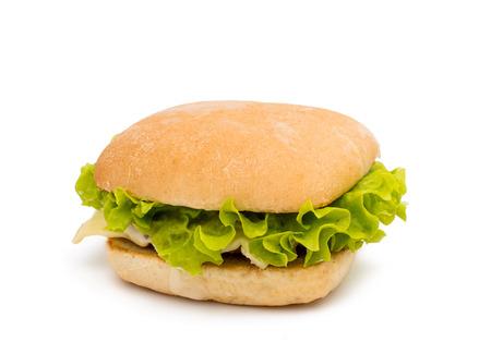 chicken burger: hamburger on a white background