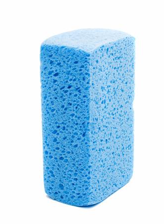 blue sponge on a white background photo