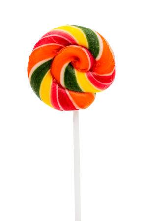 Colorful Sweet Lollipop For Children On White Background photo
