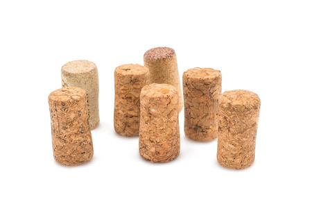Wine corks on white background photo