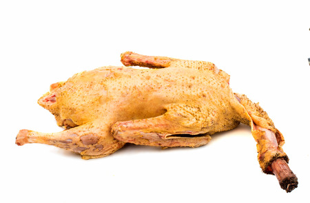 carcass: fresh carcass of a goose on a white background