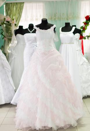 bridal salon: wedding dresses in bridal salon Stock Photo