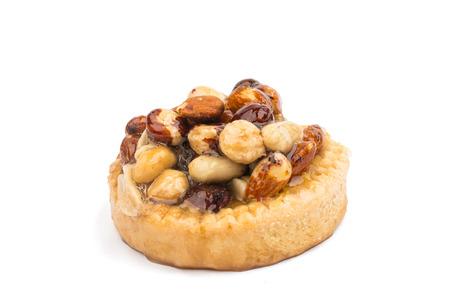 caramelized: Caramelized nuts cupcake isolated on white background