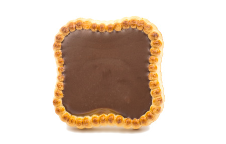 Chocolate tartlets isolated on white background. photo