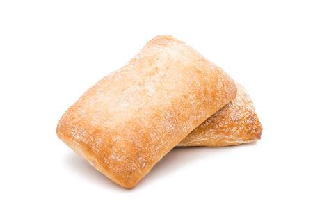 Ciabatta (Italian bread), isolated on a white background