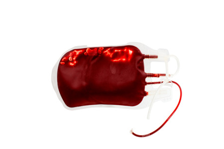 transfuse: bag of blood and plasma isolated on white background