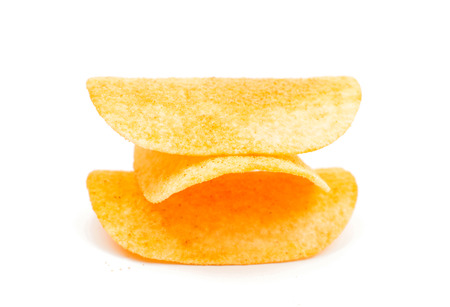 titbits: Potato chips on a white background