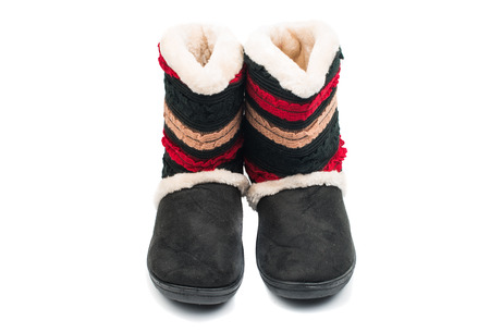 foot ware: fur boots on a white background