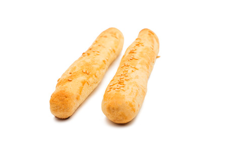 breadstick: bread cheese sticks on a white background