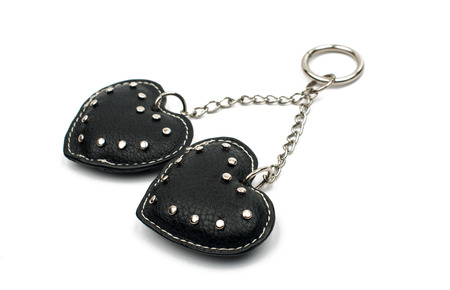 trinket: Keychain hearts on a white background Stock Photo