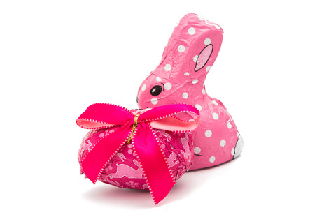 indulgence: Easter chocolate bunny isolated on white background