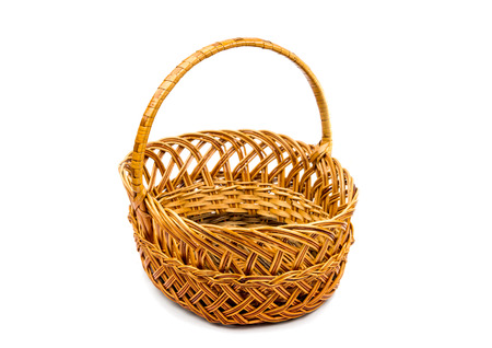 wicker basket on a white background photo