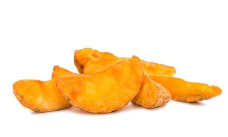papas: patatas fritas en un fondo blanco Foto de archivo