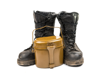 military boots: old military boots on a white background