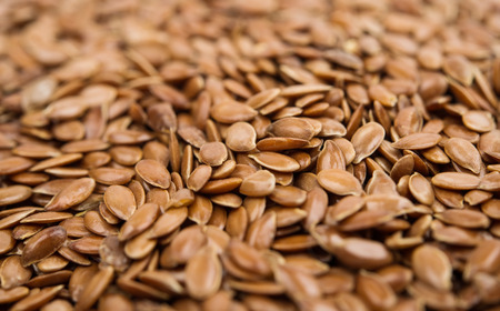 cathartic: Brown flax seeds Stock Photo