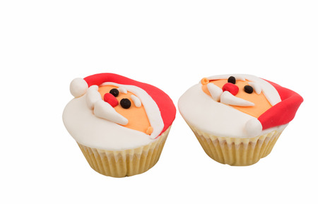 christmas cupcakes: Christmas cupcakes on a white background