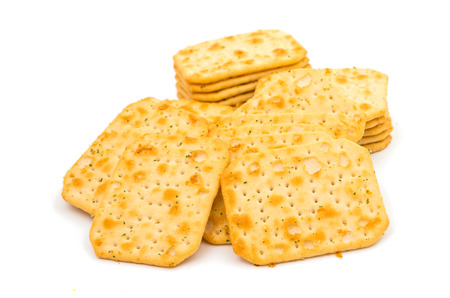 salty: salty crackers on a white background Stock Photo