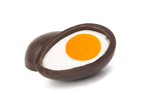 chocolate egg: chocolate egg on a white background Stock Photo