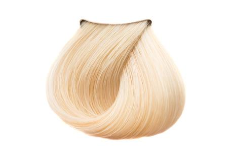 白の背景上の髪の色のロック