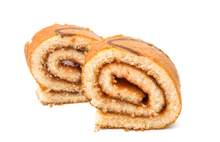 stuffing: Biscuit roll with stuffing on a white background