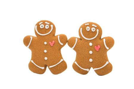 galletas de navidad: Hombre de pan de jengibre de Navidad en un fondo blanco