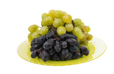 zinfandel: grapes in a plate on a white background
