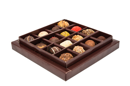 confiserie: Boxes of chocolates truffles on a white background