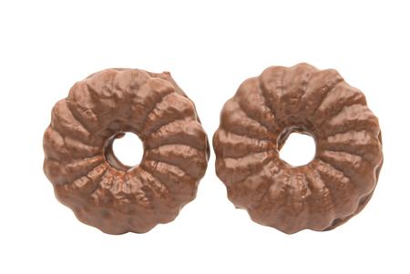 glaze: cookies with chocolate glaze on a white background