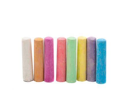 white chalks: colored chalks on a white background