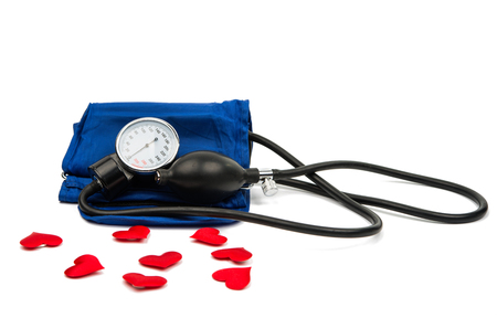 blood pressure monitor: Blood pressure meter medical equipment isolated on white Stock Photo