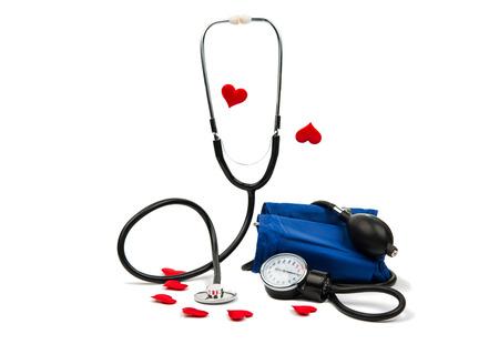 instrumental medico: medidor de presión arterial equipo médico aislado en blanco