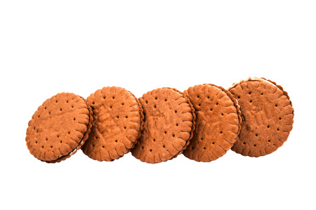 bisquit: chocolate sandwich crackers on a white background