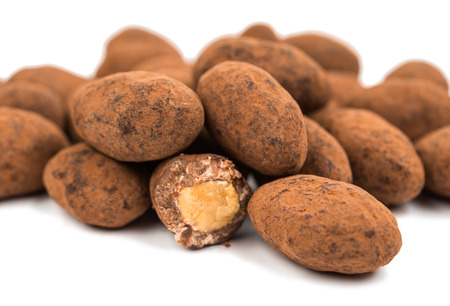 upclose: Chocolate in almonds on a white background