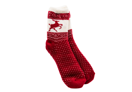 gaiters: Red knitted sock lying on a white background