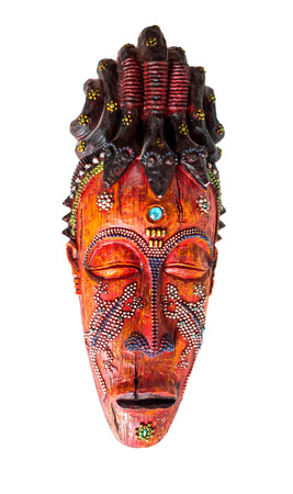 australian ethnicity: wooden idol mask on a white background