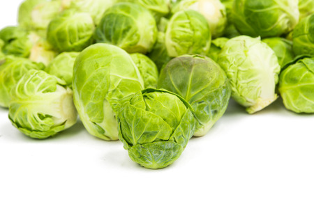 brussel: background or texture of fresh green Brussel Sprouts. Stock Photo