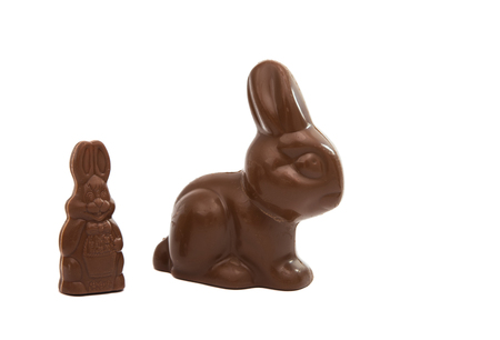 eastertime: Chocolate Easter Bunny on a white background Stock Photo
