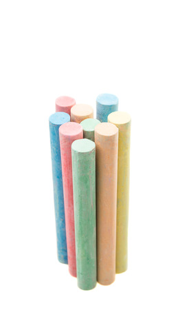 white chalks: colored chalks isolated against a white background Stock Photo