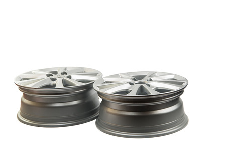 car wheels isolated on a white background Stock Photo